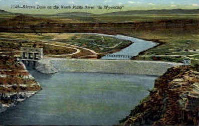 Alcova Dam - North Platte River, Wyoming WY Postcard