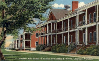 Barracks, Main Section of Fort - Fort Francis E. Warren, Wyoming WY Postcard
