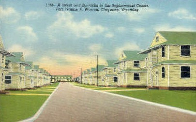 Street & Barracks, Replacement Center - Fort Francis E. Warren, Wyoming WY Postcard