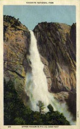 Upper Yosemite Falls - Yosemite National Park, Wyoming WY Postcard