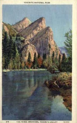 The Three Brothers  - Yosemite National Park, Wyoming WY Postcard
