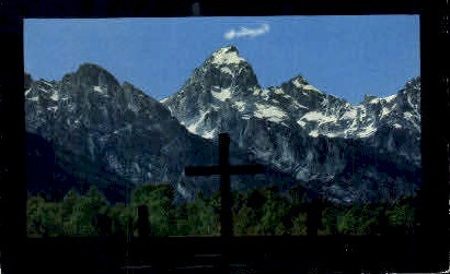 Church Window - Moose, Wyoming WY Postcard