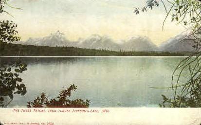 The Three Tetons - Jackson Lake, Wyoming WY Postcard