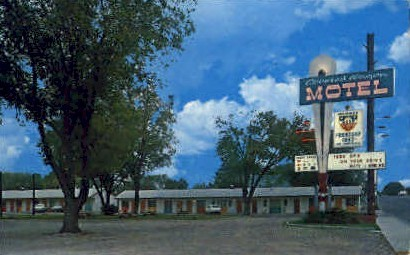 Covered Wagon Motel - South Lusk, Wyoming WY Postcard