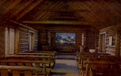 Interior, Chapel of the Transfiguration - Moose, Wyoming WY Postcard