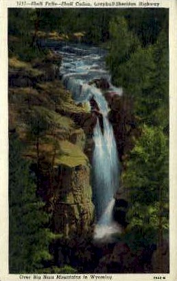 Shell Falls, Shell Canon - Big Horn Mountains, Wyoming WY Postcard