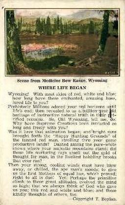 Medicine Bow Range, WY Postcard      ;      Medicine Bow Range, Wyoming