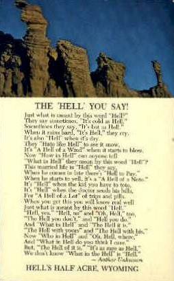 Hell's Half Acre, Wyoming Postcard      ;      Hell's Half Acre, WY