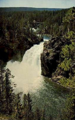 Upper Falls, Yellowstone River - Yellowstone National Park, Wyoming WY Postcard