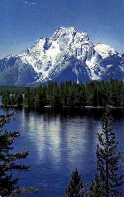 Mt. Moran & Jackson Lake - Jackson Hole, Wyoming WY Postcard