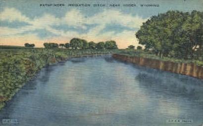 Pathfinder Irrigation Ditch - Yoder, Wyoming WY Postcard