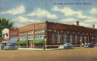 The Corner Drug Store - Gillette, Wyoming WY Postcard