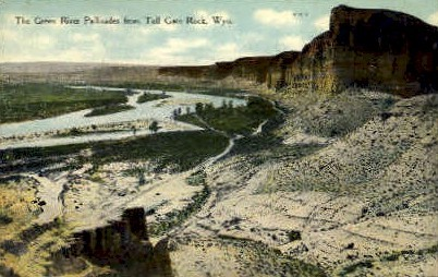 The Green River Pallisades - Toll Gate Rock, Wyoming WY Postcard