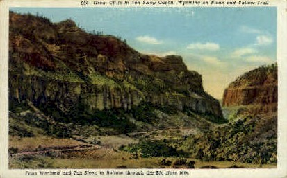 Great Cliffs - Ten Sleep, Wyoming WY Postcard