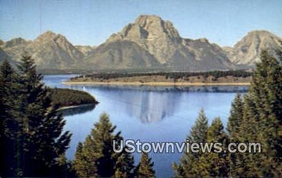 Mount Moran - Jackson Lake, Wyoming WY Postcard