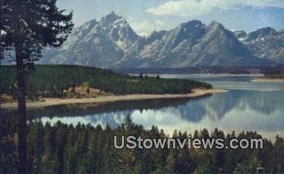 Teton Range - Jackson Lake, Wyoming WY Postcard