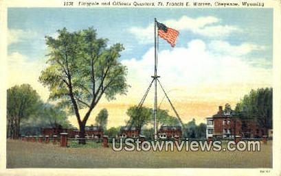 Flagpole & Officers Quarters - Cheyenne, Wyoming WY Postcard