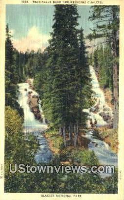 Twin Falls - Glacier National Park, Wyoming WY Postcard
