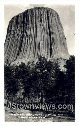 Real Photo National Monument - Devil's Tower National Monument, Wyoming WY Postcard