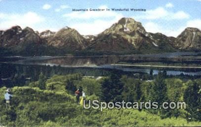 Mountain Grandeur - Teton Mountain Range, Wyoming WY Postcard