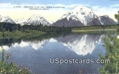 Jackson Lake - Teton Mountain, Wyoming WY Postcard