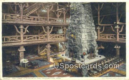 Lobby, Old Faithful Inn - Yellowstone Park, Wyoming WY Postcard