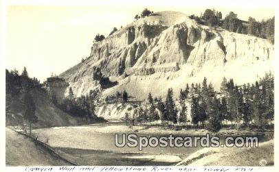 Real Photo - Canyon Wall - Yellowstone River, Wyoming WY Postcard
