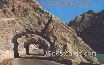 Triple Tunnels - Cody, Wyoming WY Postcard