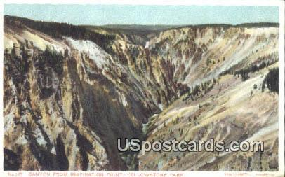 Canyon from Inspiration Point - Yellowstone Park, Wyoming WY Postcard
