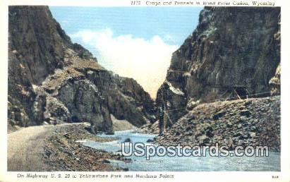 Crags & Tunnels - Wind River Canon, Wyoming WY Postcard
