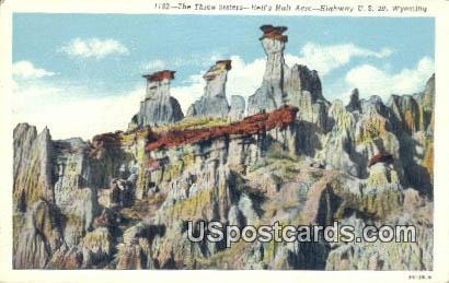 Three Sister's - Hells Half Acre, Wyoming WY Postcard