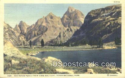 Teton Peaks - Lake Solitude, Wyoming WY Postcard