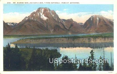 Mt Moran & Jackson Lake - Teton National Forest, Wyoming WY Postcard