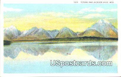 Tetons - Jackson Lake, Wyoming WY Postcard