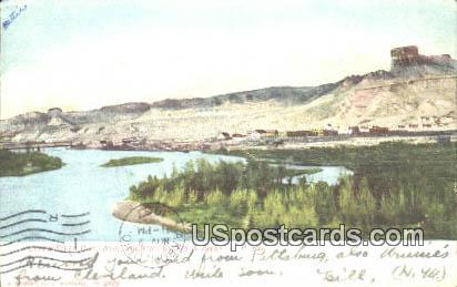 Bluffs & River, UP Ry - Green River City, Wyoming WY Postcard