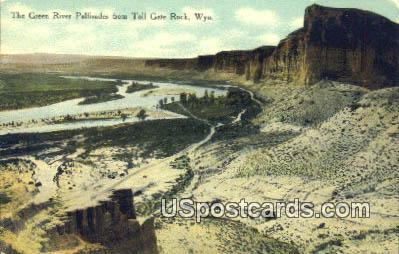 Green River Palisades - Toll Gate Rock, Wyoming WY Postcard