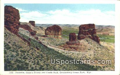 Teakettle, Giant's Thumb & Castle Rock - Green River, Wyoming WY Postcard