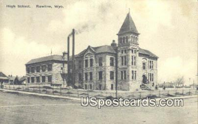 High School - Rawlins, Wyoming WY Postcard