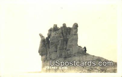 Real Photo  - Teapot Rock, Wyoming WY Postcard