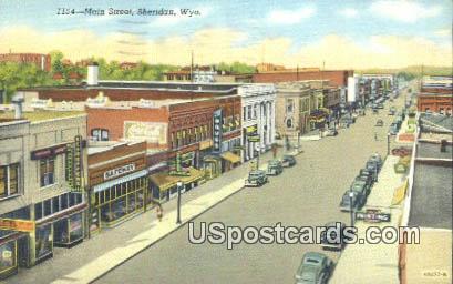 Main Street - Sheridan, Wyoming WY Postcard