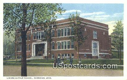 Linden Avenue School - Sheridan, Wyoming WY Postcard