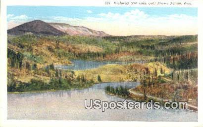Highway & Lake - Snowy Range, Wyoming WY Postcard