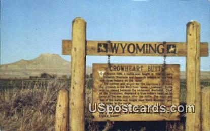 Crowheart Butte & Sign - Yellowstone National Park, Wyoming WY Postcard