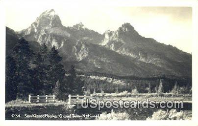 Real Photo Sun Kissed Peaks - Grand Teton National Park, Wyoming WY Postcard