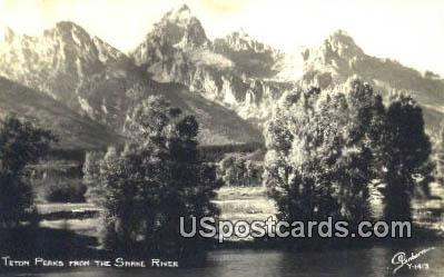 Teton Peaks - Snake River, Wyoming WY Postcard