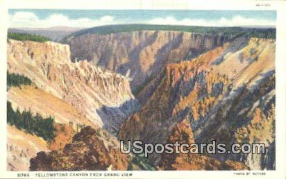 Grand View - Yellowstone Canyon, Wyoming WY Postcard