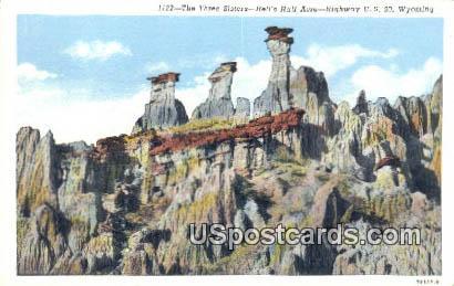 Three Sisters - Hells Half Acre, Wyoming WY Postcard