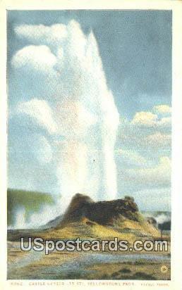 Castle Geyser - Yellowstone Park, Wyoming WY Postcard