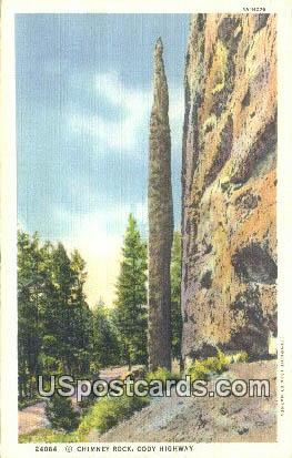 Chimney Rock - Cody Highway, Wyoming WY Postcard