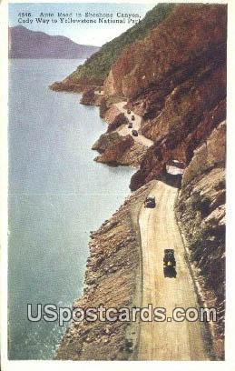 Auto Road, Shoshone Canyon - Yellowstone National Park, Wyoming WY Postcard